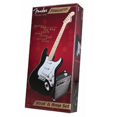 Starcaster Electric Guitar Pack - Black, Maple Fretboard