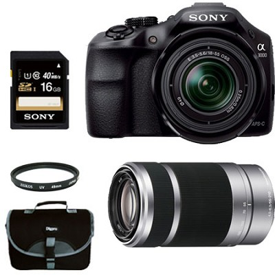 Alpha A3000 Digital SLR with 18-55mm Lens + 55-210 Zoom Lens Bundle Deal