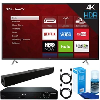 55` 4K UHD Roku Smart LED TV 2017 + DVD Player + Bluetooth Sound Bar Bundle