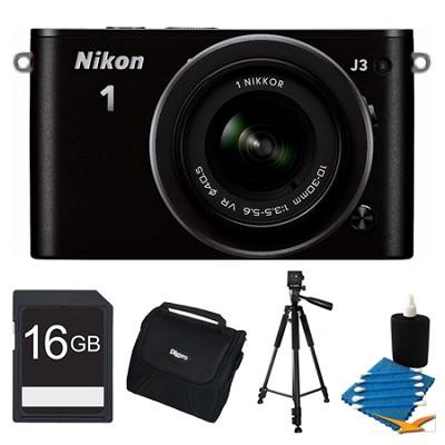 1 J3 14.2MP Black Digital Camera with 10-30mm VR Lens 16GB Bundle