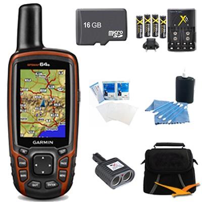 GPSMAP 64s Worldwide Handheld GPS 1 Year BirdsEye 16GB Accessory Bundle