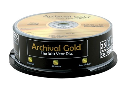 Archival Gold CD-R Retail Cakebox Spindle (25 Discs)