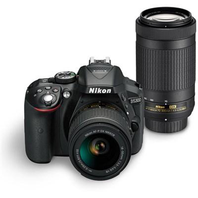 D5300 DX-Format Digital 24.2 MP SLR Camera w/ AF-P 18-55mm VR & 70-300mm Lens