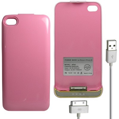 iPhone 4/4S Battery Case 2400mAh - Pink