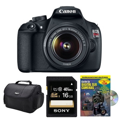 SLR Digital Camera T5 with 18-55mm, 16GB, Masterworks How-To DVD Bundle