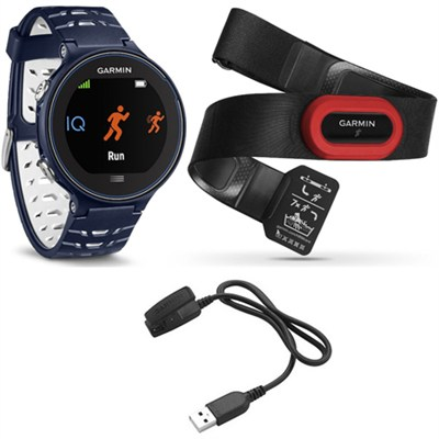 Forerunner 630 GPS Smartwatch w/ HRM-Run - Midnight Blue - Charging Clip Bundle