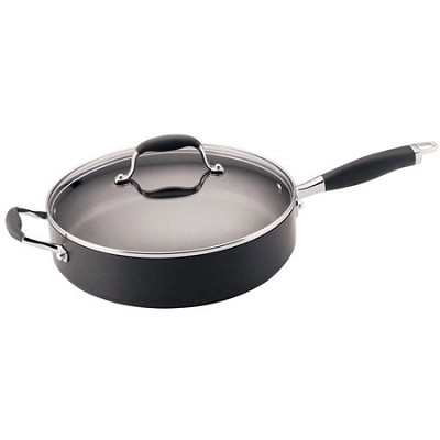 Advanced Hard Anodized Nonstick 5-Quart Covered Saute with Helper Handle  Gray