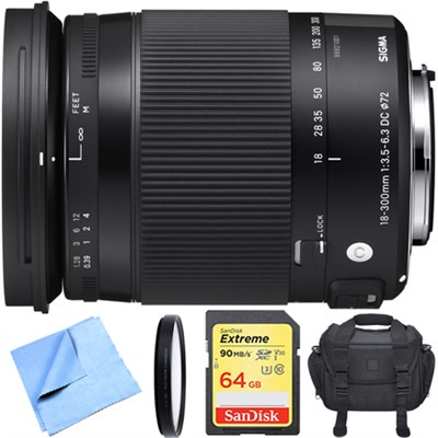 18-300mm F3.5-6.3 DC Macro OS HSM Lens Contemporary for Canon EF Cameras Bundle