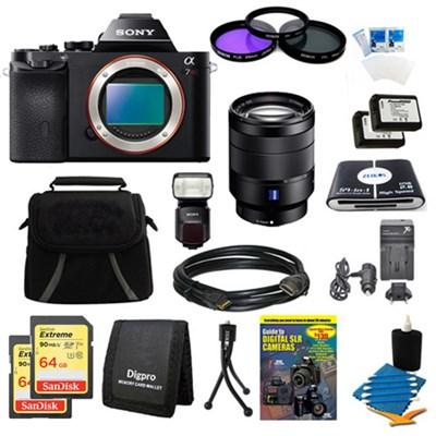 Alpha 7R a7R Digital Camera 24-70mmLens, 2 64GB Cards, 2 Batteries, Flash Bundle