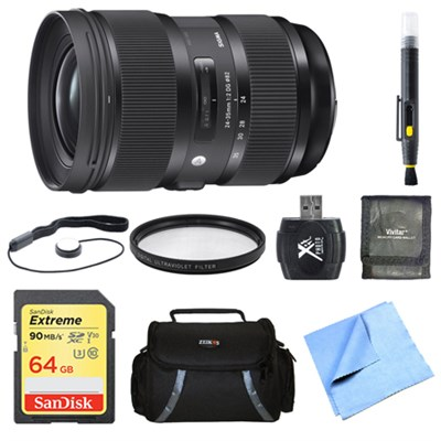 24-35mm F2 DG HSM Standard-Zoom Lens for Sigma 64GB Bundle