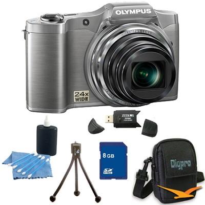 8 GB Kit SZ-12 14MP 3.0 LCD 24x Opt Zoom Digital Camera - Silver