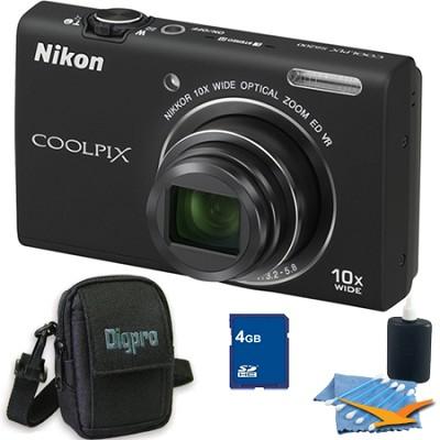 COOLPIX S6200 Black 10x Zoom 16MP Camera 4GB Bundle