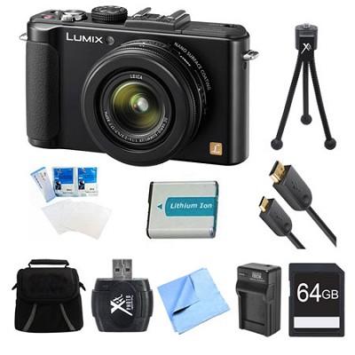 LUMIX DMC-LX7 Black Digital Camera 64GB and Battery Bundle