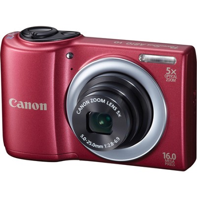 PowerShot A810 16MP Red Digital Camera w/ 5x Zoom & 720p HD Video