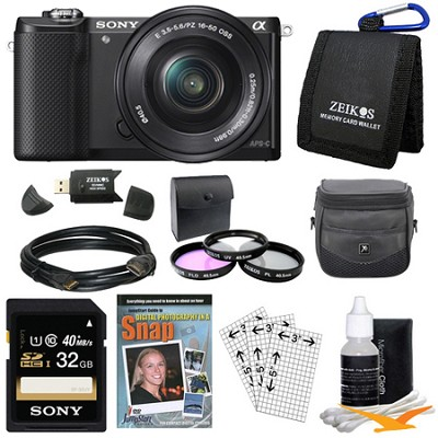 a5000 Compact Interchangeable Lens Camera Black w 16-50mm Power Zoom Lens Bundle