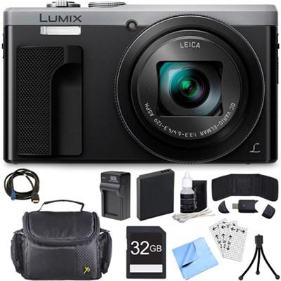 ZS60 LUMIX 4K 18 MP Digital Camera with Wi-Fi - Silver (DMC-ZS60S) 32GB Bundle