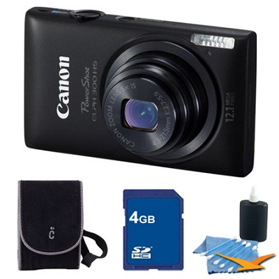 PowerShot ELPH 300 HS Black Digital Camera 4GB Bundle