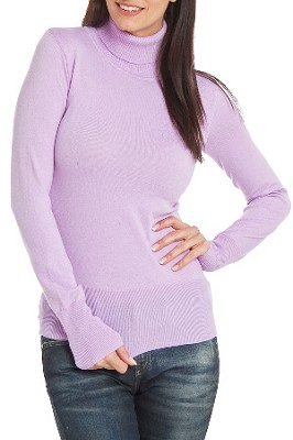 Turtleneck Sweater for Women in Lavender - Size: XLarge