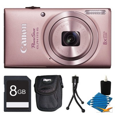 Powershot ELPH 115 IS Pink Digital Camera 8GB Bundle