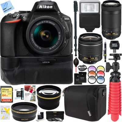 D5600 24.2MP DSLR Camera + AF-P 18-55mm VR & 70-300mm ED Lens Battery Grip Kit