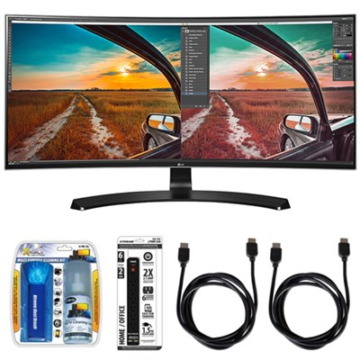 34UC88 Curved UltraWide IPS Monitor w/ Accessory Hook up Bundle