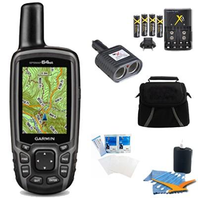 GPSMAP 64st Worldwide Handheld GPS BirdsEye & Canada Maps Plus Accessory Bundle