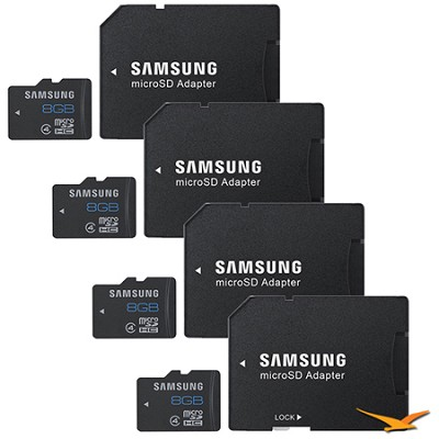8GB microSDHC  Memory Card with Adapter 4-Pack