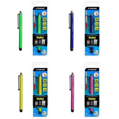 4-Pack Stylus Pens for Touchscreens + Bonus Cleaning Cloth Assorted