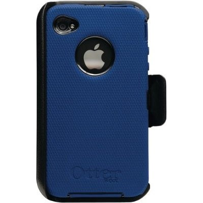 Universal Defender Case for iPhone 4 (Zircon Blue Silicone and Black Plastic)