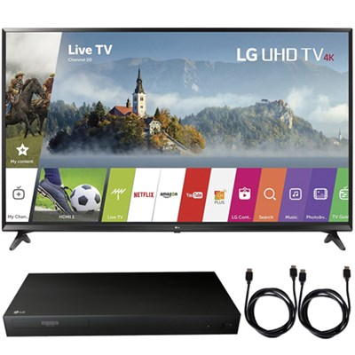 49UJ6300 49` UHD 4K HDR Smart LED TV (2017 Model) + Blu-Ray Player Bundle