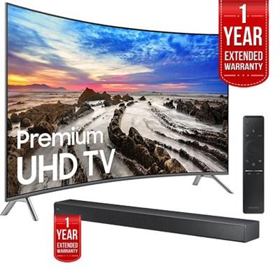 UN65MU8500FXZA 64.5` Curved 4K Smart LED TV 2017 w/ Soundbar + Extended Warranty