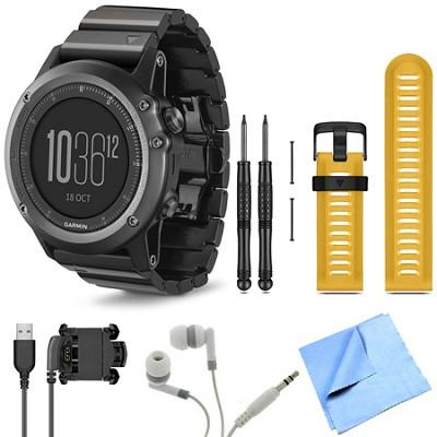 fenix 3 Multisport Training Sapphire GPS Watch Yellow Band Bundle