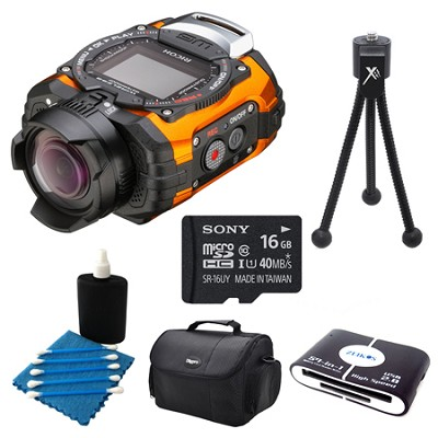 WG-M1 Compact Waterproof Action Digital Camera Kit - Orange Deluxe Bundle