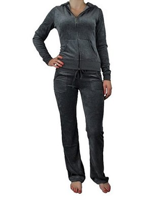 Princess Fashion Women's Velour Tracksuit in Grey (Small)