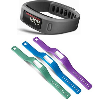 Vivofit Bluetooth Fitness Band (Slate)(010-01225-05) with 3 Extra Bands (large)