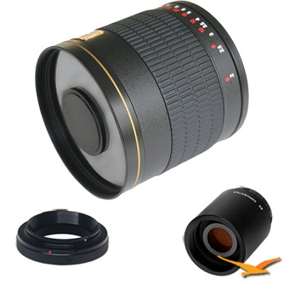 800mm F8.0 Mirror Lens for Olympus / Panasonic and 2x Multiplier (Black) 800M-B