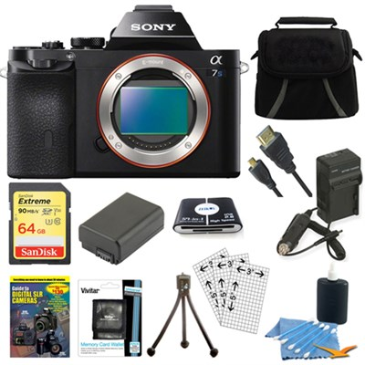 ILCE-7S/B a7S Full Frame Camera 64GB SDHC Card & Battery Bundle