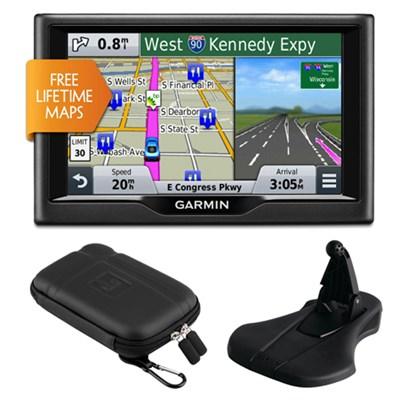 nuvi 58LM 5` Essential Series 2015 GPS System Lifetime Maps Mount & Case Bundle