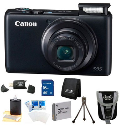 Powershot S95 Digital Camera 16GB Bundle w/ Reader, Case, Battery, and more