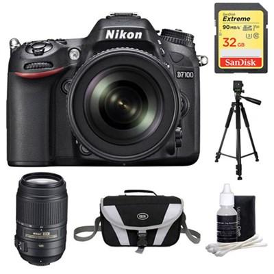 D7100 Digital HD-SLR with 18-105mm Lens 32GB and 55-300 Lens Bundle
