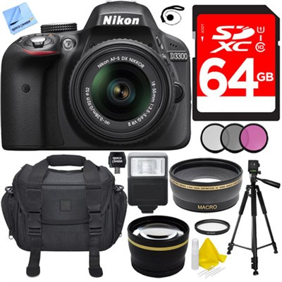 D3300 DSLR 24.2 MP HD 1080p Camera with 18-55mm VR Lens Ultimate Bundle (Black)