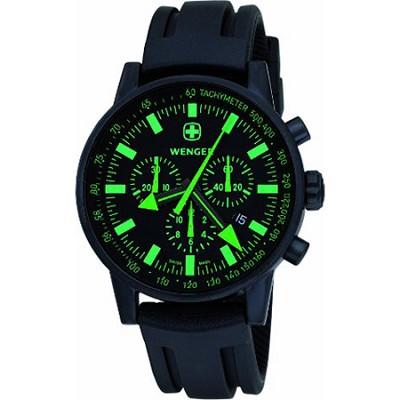 Men's Swiss Raid Commando Watch - Black and Green Dial/Black Rubber Strap