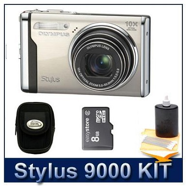 Stylus 9000 12MP 2.7` LCD Digital Camera (Champagne) value Bundle