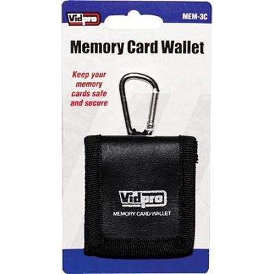 Memory Card Wallet - media storage bi-fold case for three memory cards