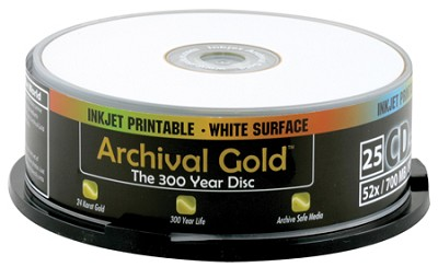 Archival Gold Inkjet CD-R Retail Cakebox Spindle (25 discs)