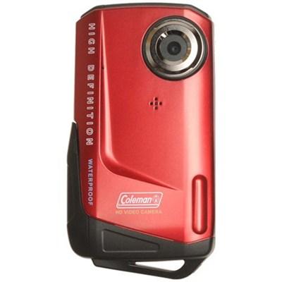 1080p HD 8MP 3X Zoom 2.0 Inch LCD Waterproof Pocket Video - Red - OPEN BOX