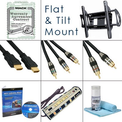HDTV Essentials Bundle (Cables, Power, Warranty Extention, Tilt Mount, Plus...)