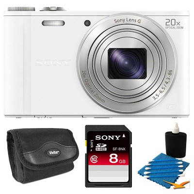 DSC-WX300/W White Digital Camera 8GB Bundle