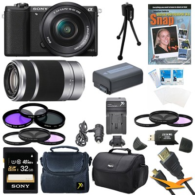 a5100 Mirrorless Camera w/ 16-50mm and 55-210mm Zoom Lens Black Bundle