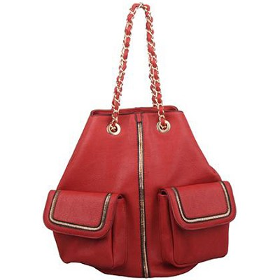 Rock Star Chain Handle Designer Inspired Bucket Bag in Red
